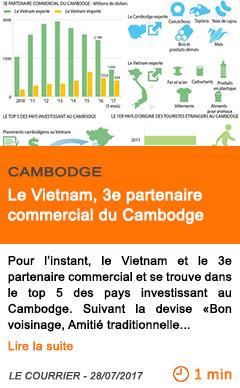Economie le vietnam 3e partenaire commercial du cambodge