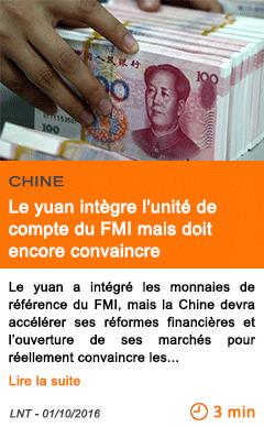 Economie le yuan integre l unite de compte du fmi mais doit encore convaincre