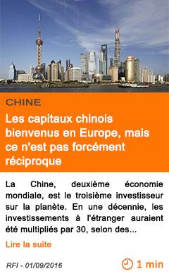 Economie les capitaux chinois bienvenus en europe mais ce n est pas forcement reciproque