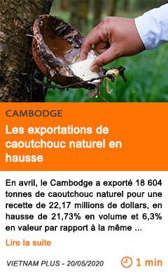Economie les exportations de caoutchouc naturel en hausse