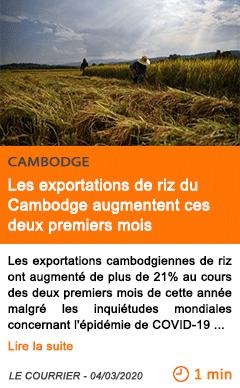 Economie les exportations de riz du cambodge augmentent ces deux premiers mois