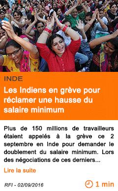 Economie les indiens en greve pour reclamer une hausse du salaire minimum