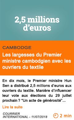 Economie les largesses du premier ministre cambodgien avec les ouvriers du textile