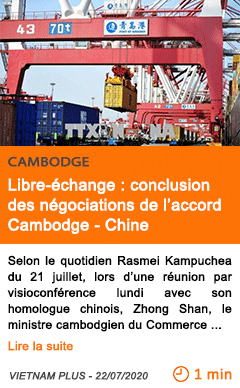 Economie libre echange conclusion des negociations de l accord cambodge chine