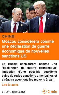 Economie moscou considerera comme une declaration de guerre economique de nouvelles sanctions us