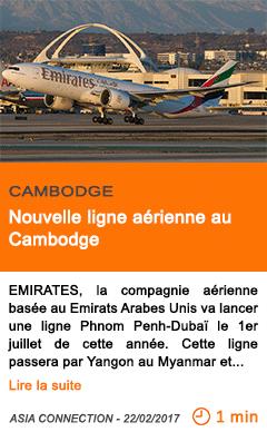 Economie nouvelle ligne aerienne au cambodge