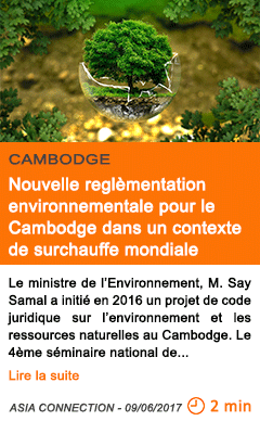 Economie nouvelle reglementation environnementale pour le cambodge dans un contexte de surchauffe mondiale