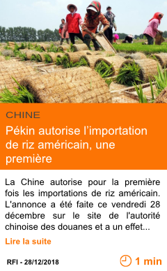 Economie pekin autorise l importation de riz americain une premiere page001