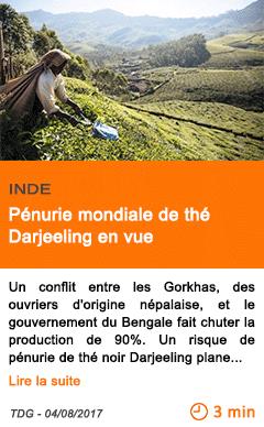 Economie penurie mondiale de the darjeeling en vue