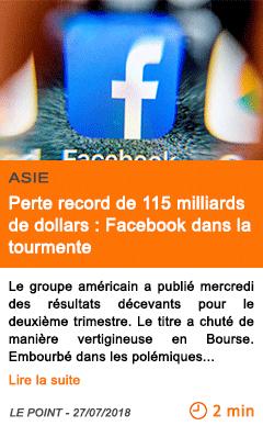 Economie perte record de 115 milliards de dollars facebook dans la tourmente