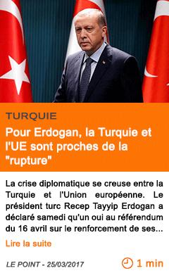 Economie pour erdogan la turquie et l ue sont proches de la rupture