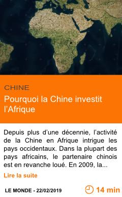 Economie pourquoi la chine investit l afrique page001