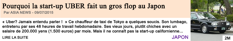 Economie pourquoi la start up uber fait un gros flop au japon