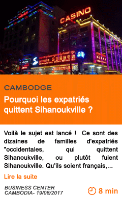 Economie pourquoi les expatries quittent sihanoukville