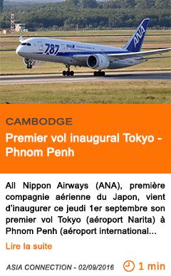 Economie premier vol inaugural tokyo phnom penh
