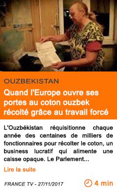 Economie quand l europe ouvre ses portes au coton ouzbek recolte grace au travail force