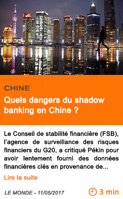Economie quels dangers du shadow banking en chine