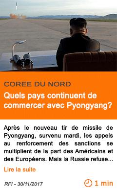 Economie quels pays continuent de commercer avec pyongyang