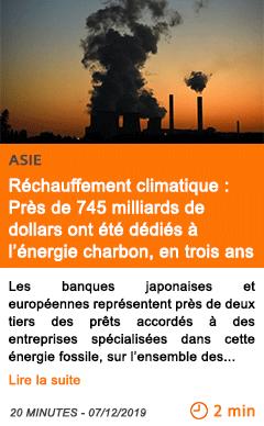 Economie rechauffement climatique pres de 745 milliards de dollars ont ete dedies a l energie charbon en trois ans