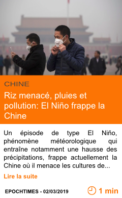 Economie riz menace pluies et pollution el nino frappe la chine page001