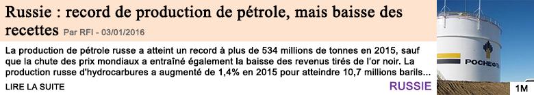 Economie russie record de production de petrole mais baisse des recettes