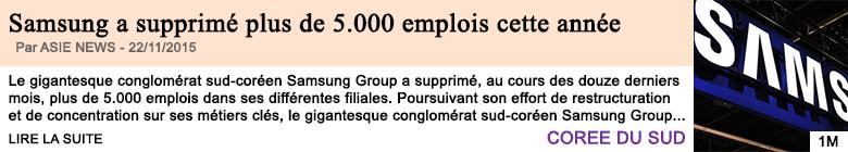Economie samsung a supprime plus de 5 000 emplois cette annee