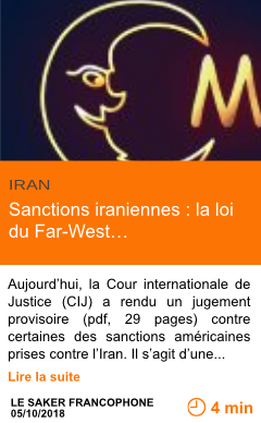 Economie sanctions iraniennes la loi du far west page001
