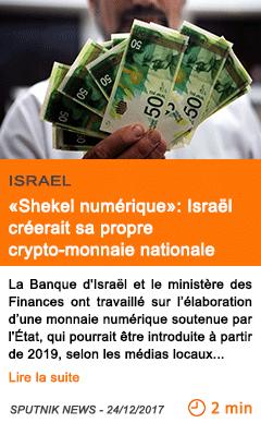 Economie shekel numerique israel creerait sa propre crypto monnaie nationale