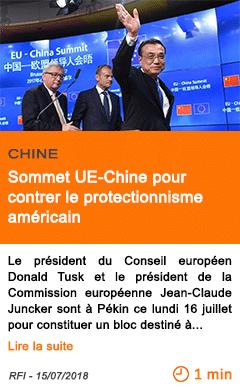 Economie sommet ue chine pour contrer le protectionnisme americain
