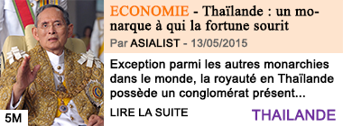 Economie thailande un monarque a qui la fortune sourit