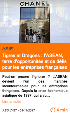Economie tigres et dragons l asean terre d opportunites et de defis pour les entreprises francaises