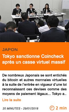 Economie tokyo sanctionne coincheck apres un casse virtuel massif