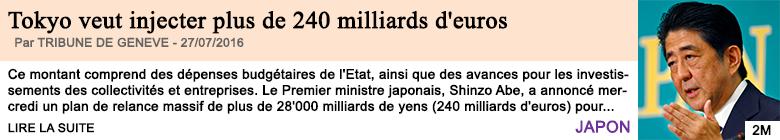 Economie tokyo veut injecter plus de 240 milliards d euros