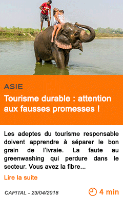 Economie tourisme durable attention aux fausses promesses