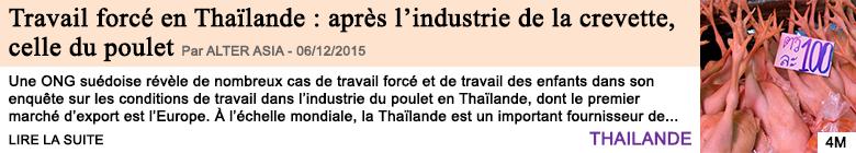 Economie travail force en thailande apres l industrie de la crevette celle du poulet