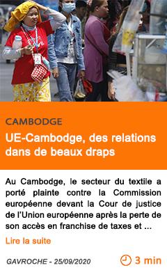 Economie ue cambodge des relations dans de beaux draps