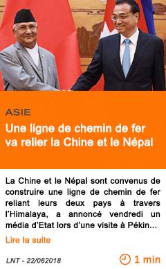 Economie une ligne de chemin de fer va relier la chine et le nepal