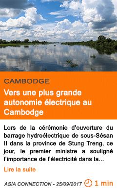 Economie vers une plus grande autonomie electrique au cambodge
