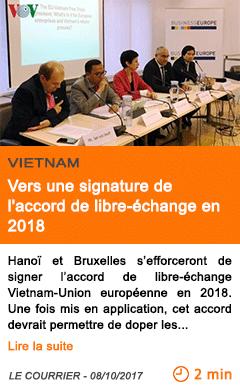 Economie vers une signature de l accord de libre echange en 2018