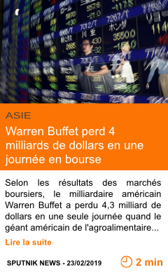 Economie warren buffet perd 4 milliards de dollars en une journee en bourse page001
