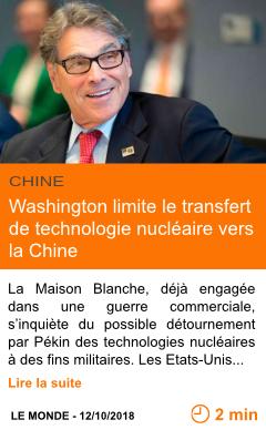 Economie washington limite le transfert de technologie nucleaire vers la chine page001