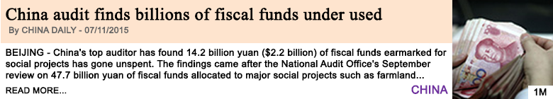 Economy china audit finds billions of fiscal funds under used