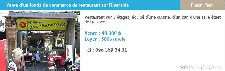 Petites annonces 5 fonds de commerce restaurant riverside phnom penh