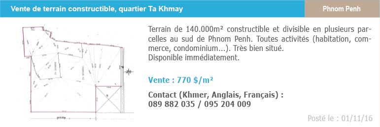 Petites annonces immobilieres 5 vente terrain ta khmay phnom penh