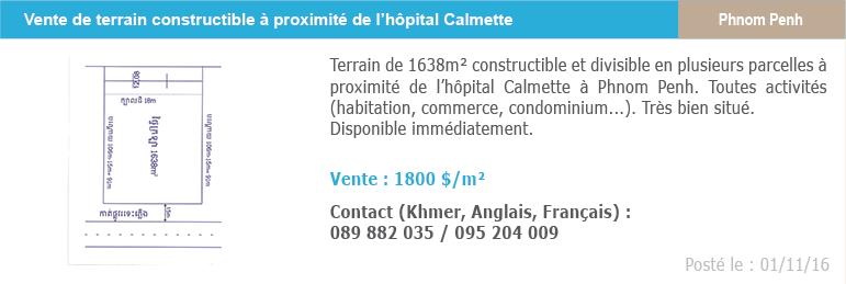Petites annonces immobilieres 6 vente terrain hopital calmette phnom penh 1