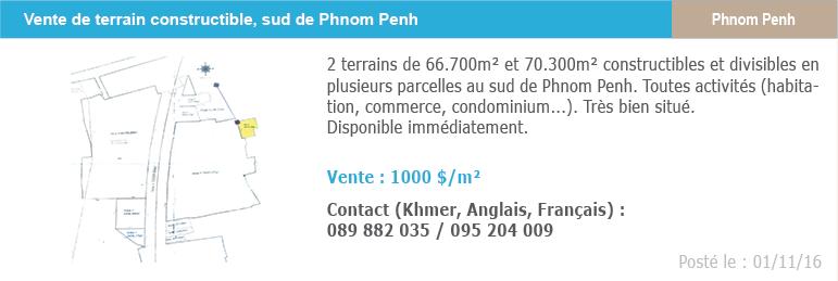 Petites annonces immobilieres 7 vente terrain sud phnom penh