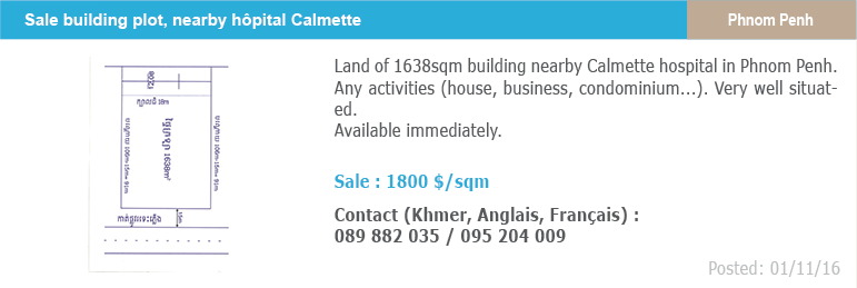 Real estate classified ad 6 sale land building plot calmette phnom penh