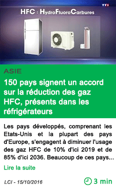 Science 150 pays signent un accord sur la reduction des gaz hfc presents dans les refrigerateurs