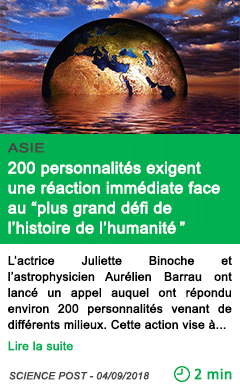 Science 200 personnalites exigent une reaction immediate face au plus grand defi de l histoire de l humanite