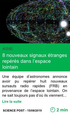 Science 8 nouveaux signaux etranges reperes dans l espace lointain page001